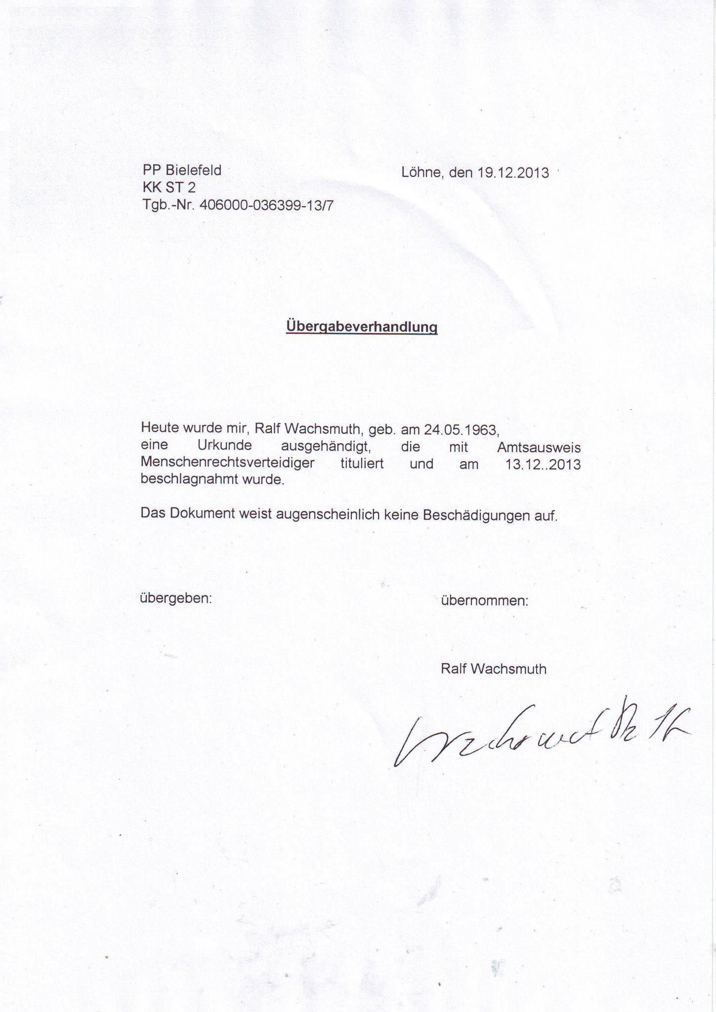 Staatsschutz Bielefeld Schreiben